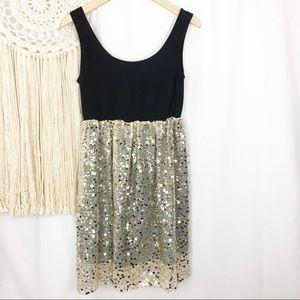 ALEXANDER McQUEEN Metallic Gold Sequin Mjni Dress